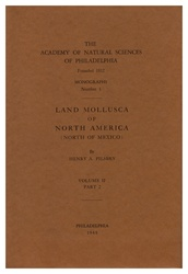 Land Mollusca of North America (North of Mexico): Monographs of The Academy of Natural Sciences of Philadelphia, No. 3, Vol. II, Part 2