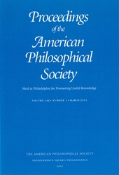 Proceedings, American Philosophical Society (Vol. 155, No. 1)